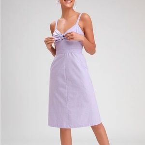 Lulu's Ain't No Other Lavender Chambray Midi Dress